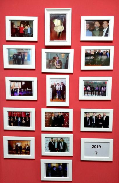 Стената на славата грейна в офиса на Ромстал. - 12 години история - 12 наградени Служители на годината